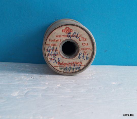 Емайлиран меден проводник 0,02 mm 83,6 гр.  зелен полиуретан   KWO Thermolan ГДР