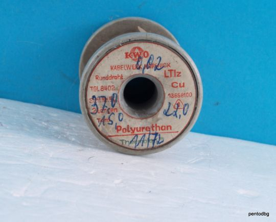 Емайлиран меден проводник 0,02 mm 27 гр.  зелен полиуретан   KWO Thermolan ГДР