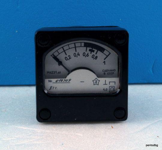 АНАЛОГОВ МИЛИАМПЕРМЕТЪР  DC 0-1mA 4% М4231.62  40mmX40mm