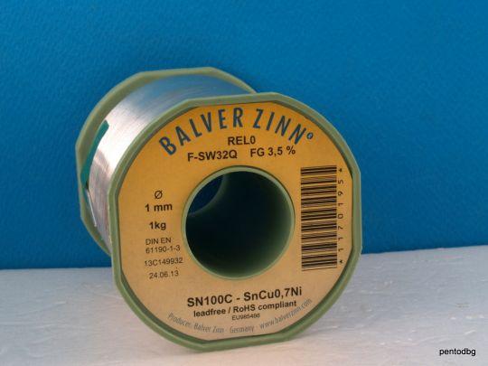 Тинол безоловен SN100  1.0mm 1kg Balver zinn