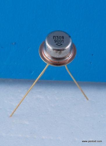 Транзистор П308 NPN 0.12A 120V 20MHz  0.25W позлатени СССР
