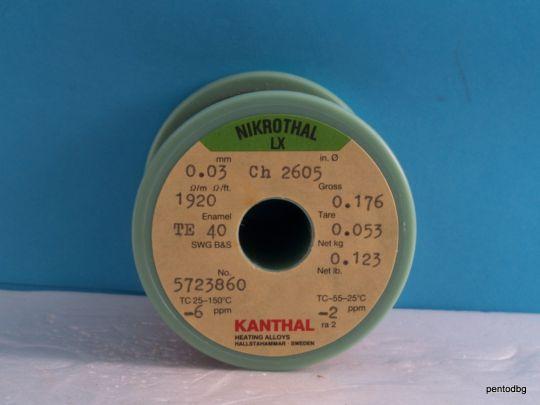 Емайлиран нихромов съпротивителен проводник 0.03mm 123gr~19000m  1920Ω/m NIKROTHAL LX KANTHAL