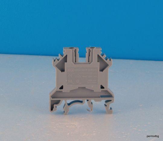 Редова клема винтова 4 mm2 22-14 AWG 750V 32A SCRW 4U