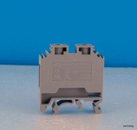 Редова клема винтова 10 mm2 15-7 AWG 750V 57A / 600V 75A / SCRW 10U