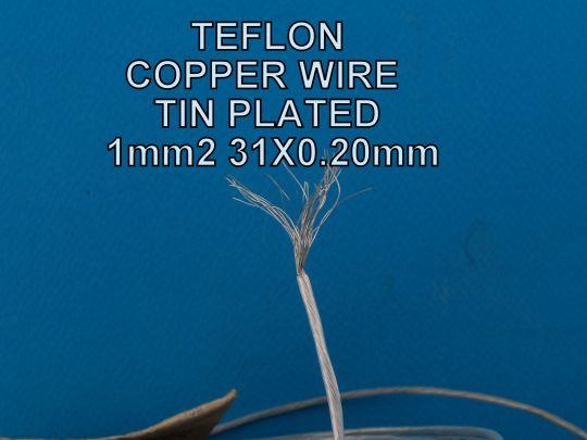 Тефлонов  многожичен  монтажен калайдисан  проводник  1,0 mm2  31X0.2mm