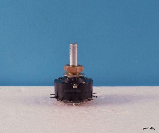 Галетен превключвател ПГС315Б  1 секция  6 позиции,  посребрени