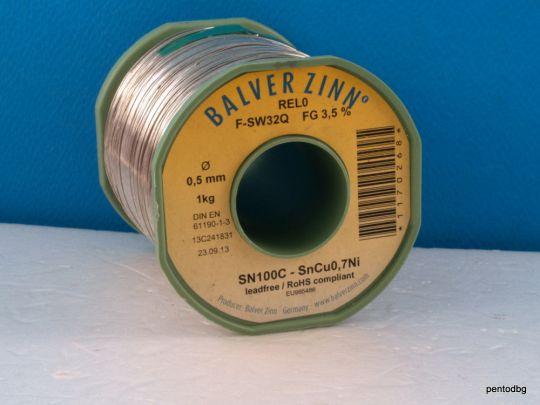 ТИНОЛ БЕЗОЛОВЕН  0.5mm SN100C - SNCU.7NI  1.0 kg  BALVER ZINN